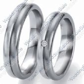 14k White Gold 5mm His & Hers 0.05ctw Diamond Wedding Band Set 258