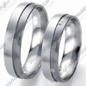 14k White Gold 6mm 0.04ct His and Hers Wedding Rings Set 259