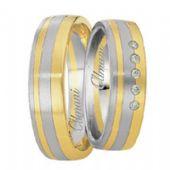 18k Two-Tone Yellow & White Gold 6mm His & Hers 0.05ctw Diamond Wedding Band Set 262