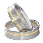 14k Two-Tone Yellow & White Gold 6mm His & Hers 0.03ctw Diamond Wedding Band Set 263