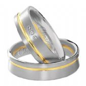 18k Two-Tone Yellow & White Gold 6mm His & Hers 0.03ctw Diamond Wedding Band Set 263