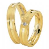 14k Yellow Gold 5mm His & Hers 0.02ctw Diamond Wedding Band Set 265