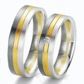 950 Platinum and 18k Yellow Gold 6mm His & Hers 0.02ctw Diamond Wedding Band Set 270