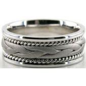 18k White Gold 8mm Handmade Wedding Band Braid Design 038