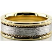 18k Gold Two Tone 8mm Handmade Wedding Band Rope Design 024