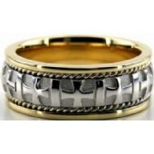 18k Gold Two Tone 8mm Handmade Wedding Band Cross Design 036