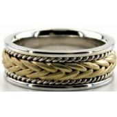 18k Gold Two Tone 8mm Handmade Wedding Band Braid Design 020