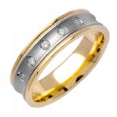 14k Gold Round Brilliant Bezel Set 7mm Comfort Fit Two Tone Diamond Band 0.15ctw 1245