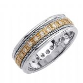 18k Gold Round Brilliant Pave Set 7mm Comfort Fit Two Tone Diamond Band 1240 (0.45ctw.)