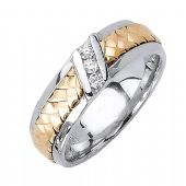 14k Gold Round Brilliant Channel Set 6.5mm Comfort Fit Two Tone Diamond Band 0.15ctw 1246