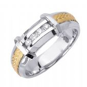 14k Gold Round Brilliant Channel Set 6.5mm Comfort Fit Two Tone Diamond Band 1247 (0.12ctw)