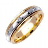 14k Gold Round Brilliant Bezel Set 6mm Comfort Fit Two Tone Diamond Band 0.16ctw 1249