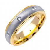18k Gold Round Brilliant Bezel Set 6.5mm Comfort Fit Two Tone Diamond Band 0.16ctw 1248