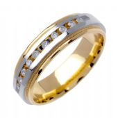 950 Platinum & 18k Gold Round Brilliant Channel Set 6mm Comfort Fit Two Tone Diamond Band 0.20ctw 1250