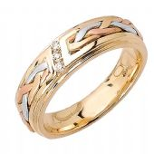 14k Gold Round Brilliant Channel Set 6mm Tri Color Wedding Band 0.06ctw 1253