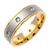 950 Platinum & 18k Gold  Round Brilliant Bezel Set 6mm Comfort Fit Two Tone Diamond Band 0.16ctw 1242