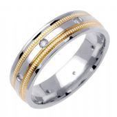 18k Gold Round Brilliant Bezel Set 7.5mm Comfort Fit Two Tone Diamond Band 0.16ctw 1251