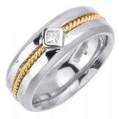 14k Gold Princess Cut Bezel Set 7.5mm Shiny Two Tone Diamond Band 0.10ctw 1255