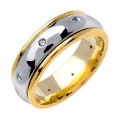 14k Gold Round Brilliant Bezel Set 8mm All Shiny Two Tone Diamond Wedding Band 0.16ctw 1256