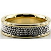 950 Platinum & 18K Gold 6.5mm Handmade Wedding Band Rope Design 023