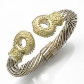 18K Two Tone Queen Royal Almani Design Handmade Bangle