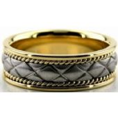 950 Platinum & 18k Gold 7mm Handmade Wedding Band X Design 015