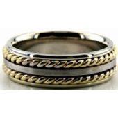 950 Platinum & 18K Gold 7mm Handmade Wedding Band Rope Design 016