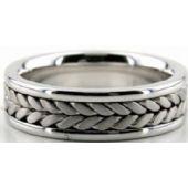 950 Platinum 6.5mm Handmade Wedding Band Braid Design 017