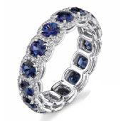 14k Gold Prong and Pave Set 4.22ctw. Round Diamond & Sapphire Eternity Band DEB78614K