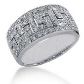14K White Gold Diamond Greek Key Anniversary Ring (0.74ctw.)