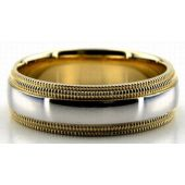 14K Gold  Two Tone Double Milgrain 6.5mm Wedding Bands 228