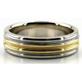 14K Gold Four Channels Two Tone 6mm Wedding Bands 212
