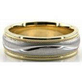 14K Gold Two Tone 6.5mm S Diamond Cut Wedding Bands 233