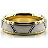 14K Gold Two Tone 6.5mm Trapezoid Diamond Cut Wedding Bands 224