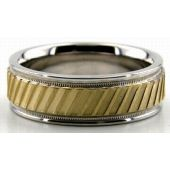 18K Gold Two Tone 6.5mm Diamond Cut Slash Wedding Bands 205
