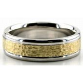 18K Gold Two Tone 6.5mm Hammered Wedding Bands Rings 202