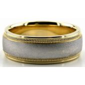 18K Gold Two Tone 7mm Double Milgrain Wedding Bands 229