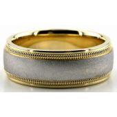 18K Gold Two Tone 7mm Double Milgrain Wedding Bands 229