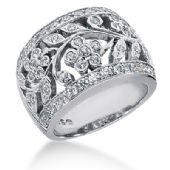 14K White Gold Floral Vine Design Diamond Anniversary Ring (0.75ctw.)