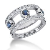 14K Open Spaced Sapphire Round Brilliant Diamond Anniversary Ring (1.5ctw.)