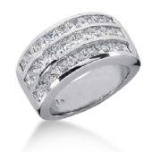 14K Three Row Princess Cut Diamond Anniversary Ring (2.6ctw.)