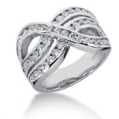 14K Wave Design Round Brilliant Diamond Anniversary Ring (1.68ctw.)