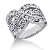 14K Swirled Wave Round Brilliant Diamond Anniversary