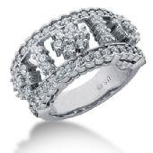 14K Flower Design Round Brilliant Diamond Anniversary Ring (1.29ctw.)