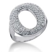 14K 'O' Shaped Round Brilliant Diamond Anniversary Ring (0.86ctw.)