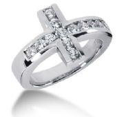 14K White Gold Round Brilliant Diamond Cross Anniversary Ring (0.94ctw.)