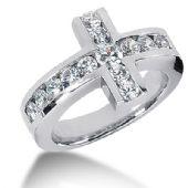 14K White Gold Cross Shaped Diamond Anniversary Ring (1.38ctw.)