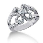 14K Heart Flower Round Brilliant Diamond Anniversary Ring (0.38ctw.)