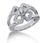 14k Heart Design Round Brilliant Diamond Anniversary Ring (0.63ctw.)
