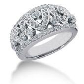 14K Open Wave Round Brilliant Diamond Anniversary Ring (0.89ctw.)